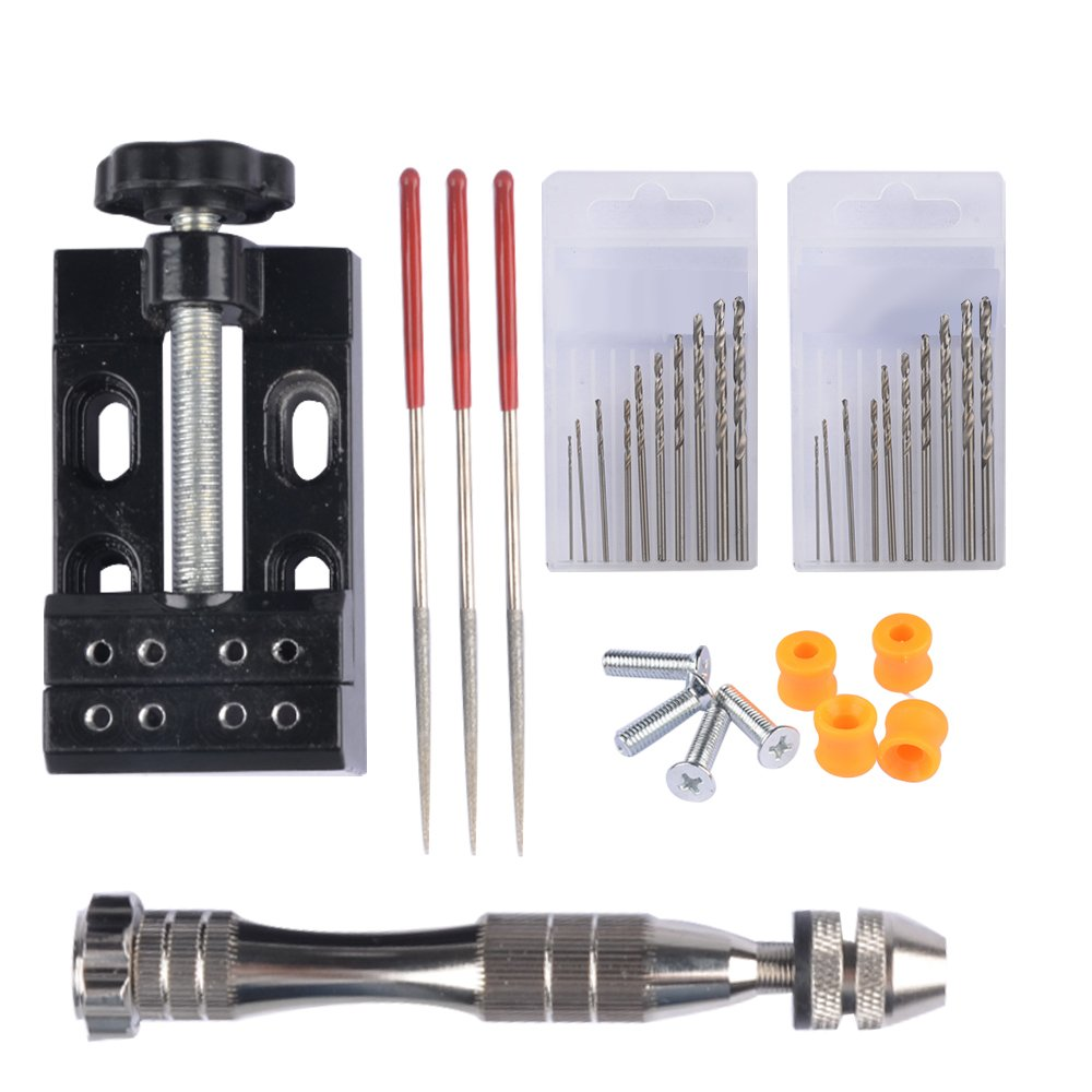 HYCKee MF16 Aluminum Hand Drill Drilling Holes Pin Table Vise Bench for Model Resin Jewelry Walnut Amber Beeswax Nut ect with 20 pcs Twist Drill Bits and Repair Bag MF16-B01N0XQ8V0