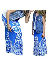 WenaZao Mommy and Daughter Matching Maxi Skirts, Art Irregular Pattern Long Skirt Dress, Parent-Child Matching Outfits