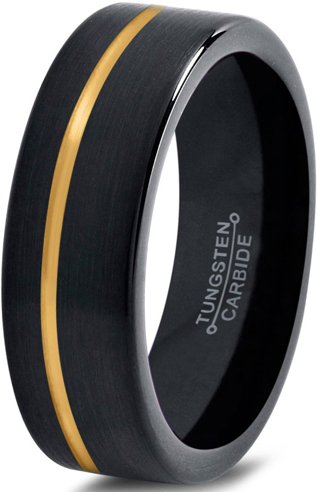 Tungsten Wedding Band Ring 6mm for Men Women Black Rose Yellow Gold Plated OffSet Line Flat Cut Brushed Polished Charming Jewelers MDC-713-6