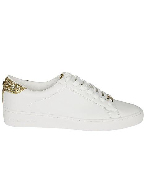 MICHAEL KORS mujeres bajas zapatillas de deporte 43S6IRFS1L IRVING ATA PARA ARRIBA BLANCO / ORO talla 38 Blanco / oro: Amazon.es: Zapatos y complementos