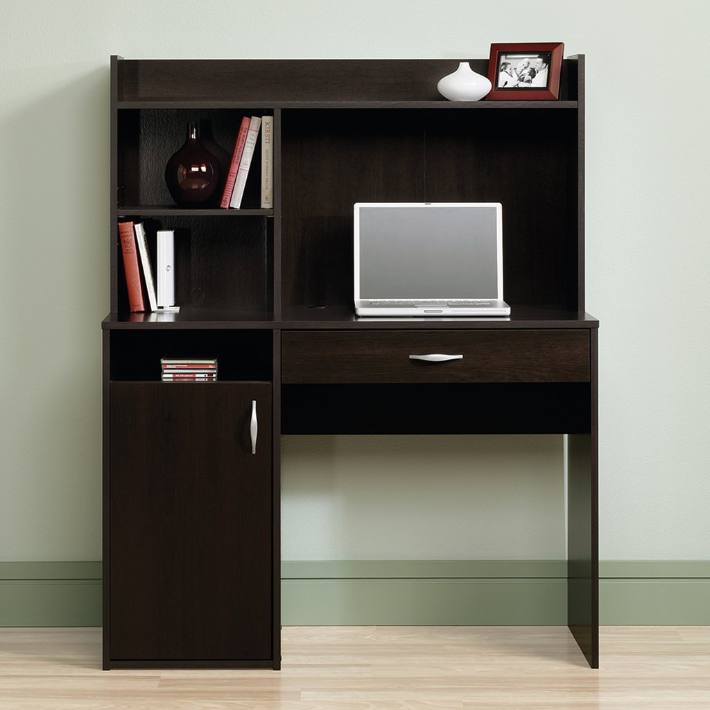 Sauder Beginnings Desk with Hutch, Cinnamon Cherry Finish
