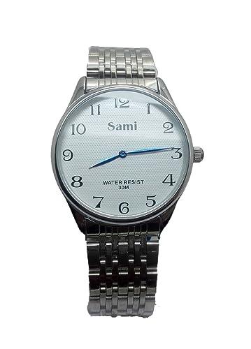 RELOJ sami clásico con esfera blanca y números muy claros con caja y correa completamente terminado en acero de gran calidad.: Amazon.es: Relojes