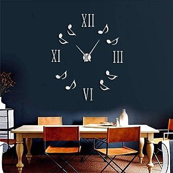 Djkaa Números Romanos con Notas Musicales Reloj De Pared Gigante De Lujo Reloj De Pared Grande Reloj De Gran Aguja Moderno Reloj DIY Entusiastas Regalo(37 ...