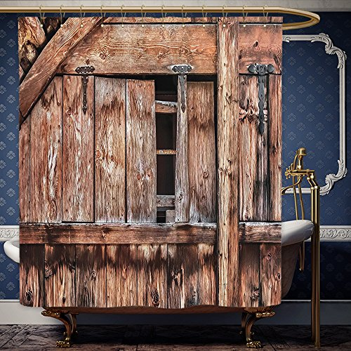 Wanranhome Custom-made shower curtain Rustic Abandoned Damaged Oak Barn Door with Iron Hinges and Lateral Cracks Knock Theme Decor Light Rosewood For Bathroom Decoration 72 x 96 - Thousand Oaks Nordstrom