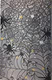 Halloween Creepy Scary Spider Web Flannel Back Vinyl Tablecloth: Black Spiders Ensnaring a Wicked Web on Grey with Silver and Gold