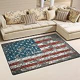 Yochoice Non-slip Area Rugs Home Decor, Retro American Flag Stars Brick Wall Floor Mat Living Room Bedroom Carpets Doormats 60 x 39 inches