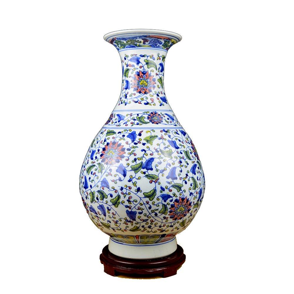 XIAOYAN 景徳鎮陶磁器花瓶の装飾青と白大きな陶器の絡み合ったロータスパターンヴィンテージリビングルーム入り口テレビキャビネットの家の装飾中国の家具装飾乾燥花のアレンジメントに最適 B07DYNCF4P