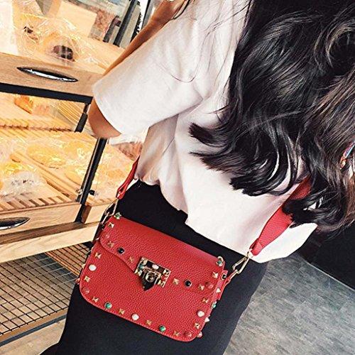 Rivet à Femme couleur couleur messager de bandoulière ESAILQ Sacs Rouge Bracelet Design Sacs épaule XaxwU8xqH