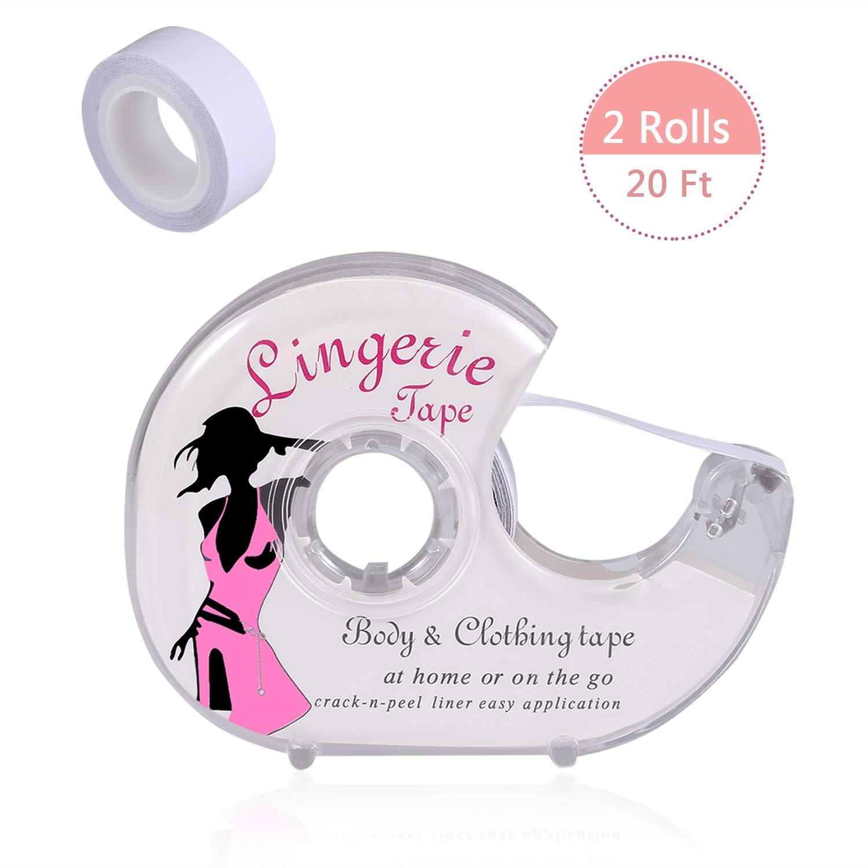 Vlazom Clothing Tape, Lingerie Tape Body Double Sided Body Tape Safe for Clothing Butt Dress Secret AS000002_W_3MR