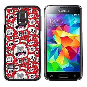 QCASE / Samsung Galaxy S5 Mini, SM-G800, NOT S5 REGULAR! / monstruo alienígena wallpaper blanco cráneos arte / Delgado Negro Plástico caso cubierta Shell Armor Funda Case Cover