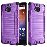 Case Compatible with Huawei Ascend XT H1611 Dual Layer TPU Brushed Metallic Textured Finish Shock Impact Protection Hybrid Case (Purple)