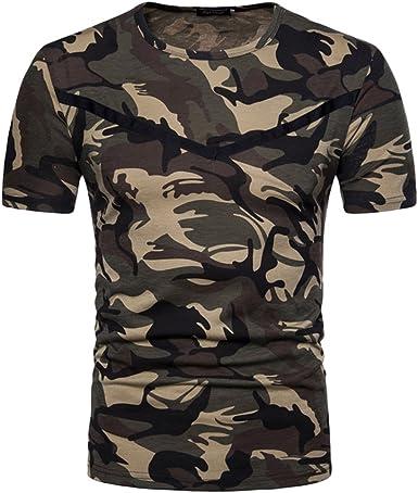 Qitun Hombre Deporte Militar de Camuflaje Camiseta Slim ...