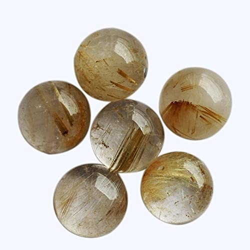 For Ring Smooth Cabochon Round Shape Genuine Gold Rutile Quartz Natural Gemstone 18mm Crystal Healing