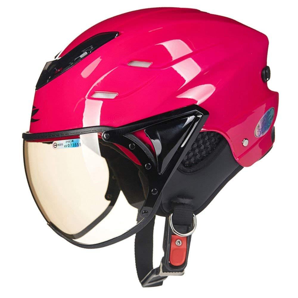 Red One Size Motorcycle Helmet Motorcycle Helmet Men and Women HalfCovered Half Helmet Light Four Seasons Electric Car Helmet Road Helmet