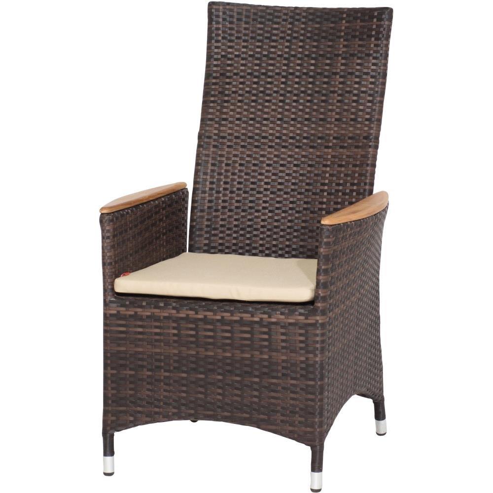 Siena Garden 167831 Sessel Move Plus II Aluminium-Gestell Gardino®-Geflecht maron inkl. Kissen beige, Armlehnen Teak FSC® 100%