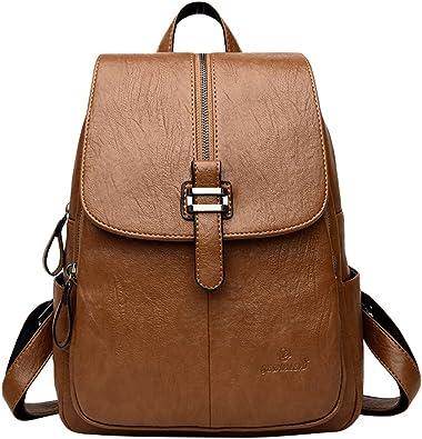 Xinwcang Casual Mochila Mujer, Bolsos Mochilas Tipo Bolso del Hombro Multi bolsillos Escolares Moda Vintage Bolsa de Mano Cuero de la PU