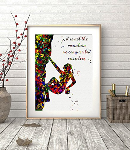 rock-climbing-girl-watercolor-posters-art-prints-extreme-sports-wall-decor-artworks-wall-art-dining-