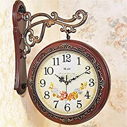 double surface wall clock living room clock wall silent clock creative modern two-sided quartz clocks,Brown 1
