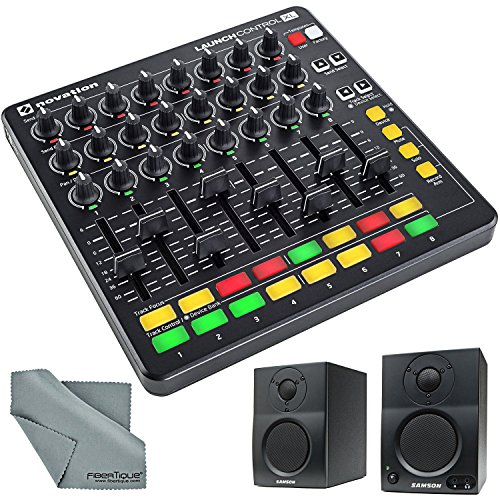 Novation Launch Control XL for Ableton Live & 2-way Active Studio Monitors Bundle with Fibertique Cloth by Photo Savings