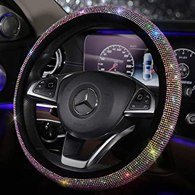 Pinbola Bling Bling Auto Steering Wheel Cover, Soft Plush Velvet Crystal Rhinestone Steering Wheel Cushion Protector for 15 inch: Automotive