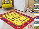 3 feet letters - Handcraft Rugs-Kids Rugs Educational/Play Time Red Yellow Learning Numbers And Letters Train With Upper Case and Lower Case Alphabet- 3 ft. by 5 ft.