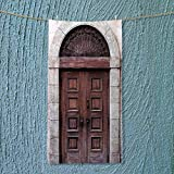 SOCOMIMI Sports Towel Arched Wooden Venetian Door with Islamic Royal Ottoman Elements European Culture Decor Brown Fast Drying, Antibacterial