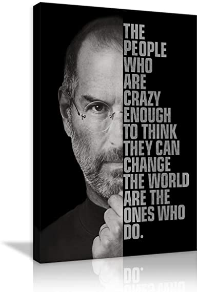 """Motivational Steve """"The people Who are Crazy Enough""""Canvas Wall Art Inspirational Entrepreneur Quotes Poster Print Artwork Painting"""
