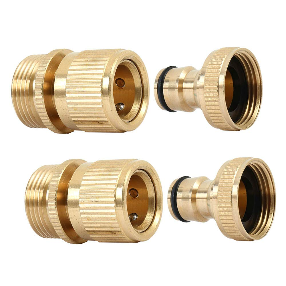 bennyuesdfd Set of 2 Brass Quick Hose End Connector Garden Hose Nozzle Connect Kit ¾ inch GHT Brass Easy Connect Fitting Male and Female