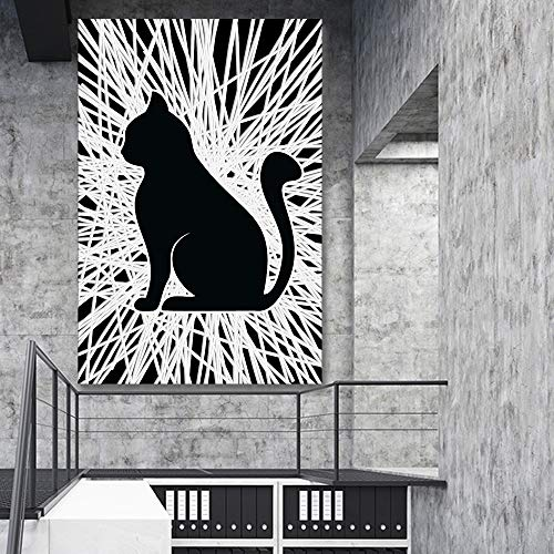 Abstract Line with Animal Painting for Bedroom Living Room ation