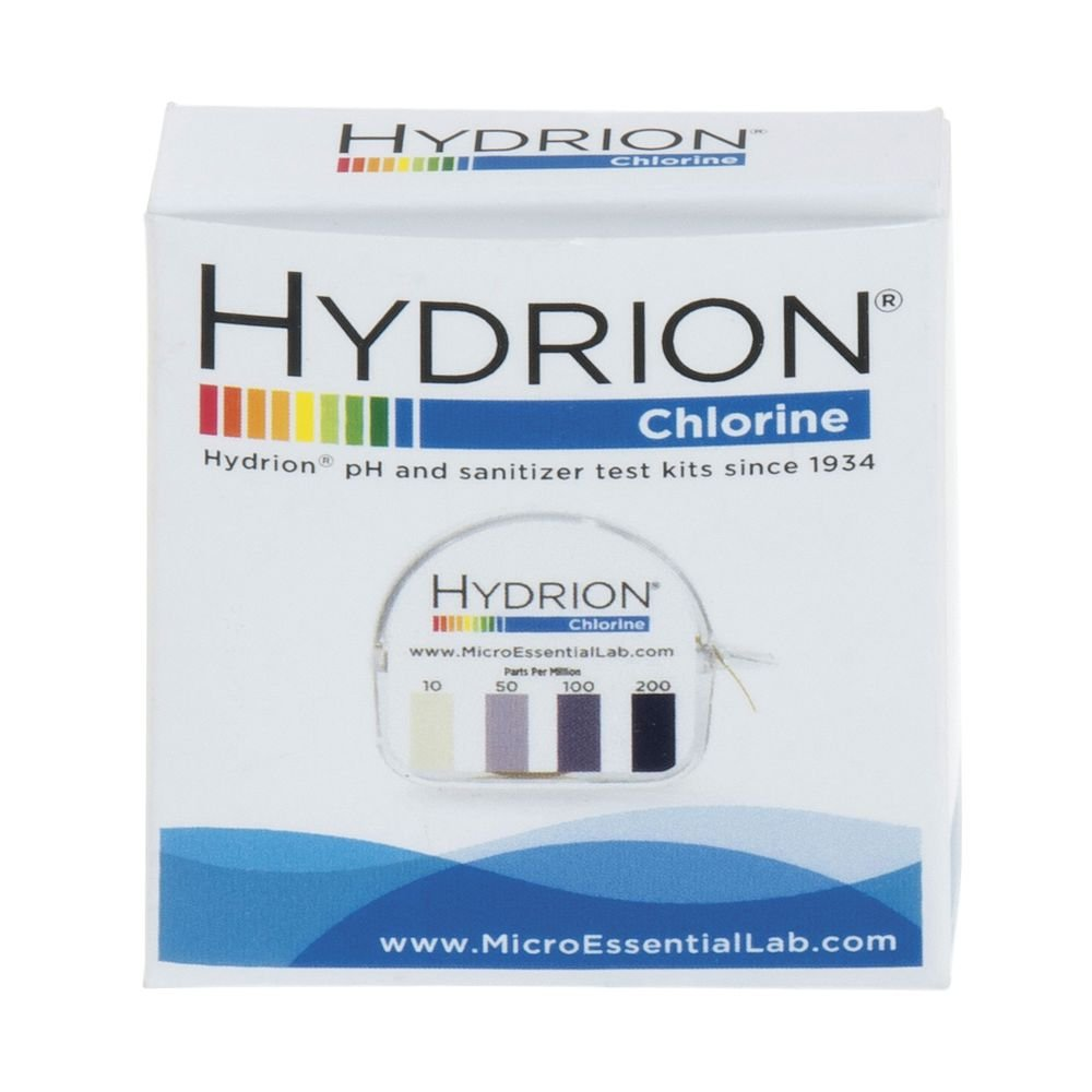 Micro Essential Hydrion CM-240 Chlorine Test Paper with Dispenser, 10-200ppm (Case of 10) Micro Essential Lab 1205X09CS