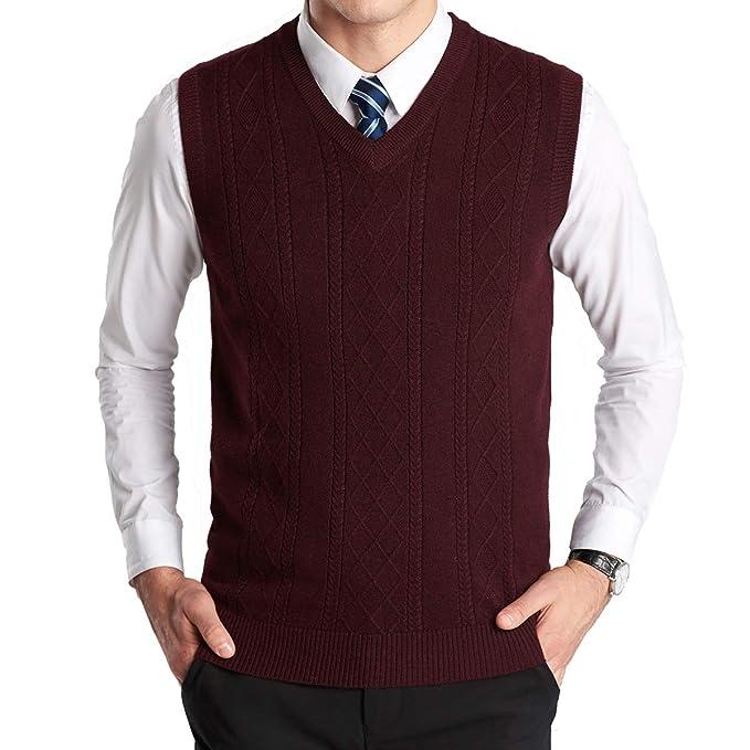 1950s Men's Clothing YinQ Mens Casual Golf Tank Top V-Neck Sleeveless Pullover Vest Slim Fit Kintted Sweater Vest $18.99 AT vintagedancer.com