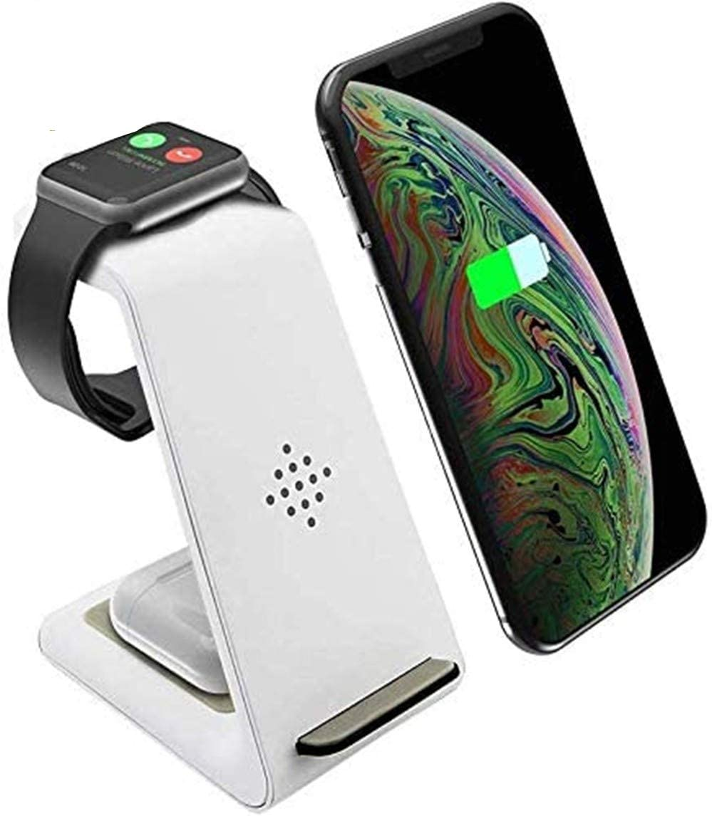 Wireless Charger, 3 in 1 Qi-Certified Fast Wireless Charging Station Charger Stand Dock for iPhone 11/11pro/11pro Max/X/XS/XR/Xs Max/8/8 Plus, Apple Watch Series 6/5/4/3/2/1, AirPods 1/2/Pro, Samsung