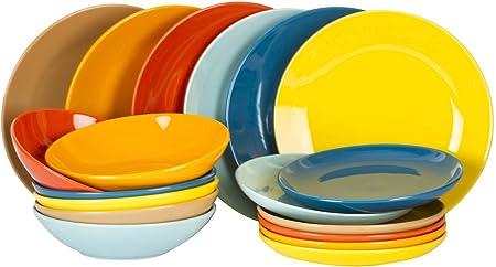 Kaleidos Service de vaisselle en gr/ès 18 pi/èces Mod/èle Multicolor.