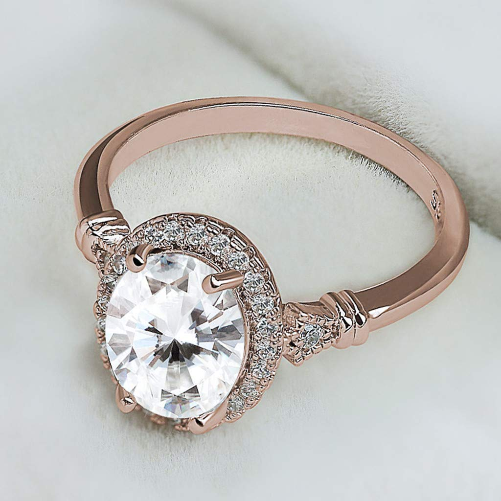 Diamond Rose Gold Rings,Futemo Fashion Oval Rhinestone Ring Knuckle Bands Statement Wedding Jewelry for Women Girl