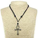 Metal Ankh Pendant on Adjustable Cord Necklace (Old Silver)