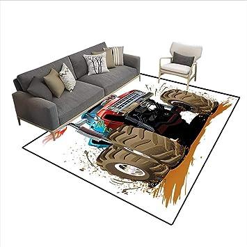 Carpet,Monster Truck Splashing Mud Graphic Design Flame Machinery Engine Wheels,Indoor Outdoor Rug