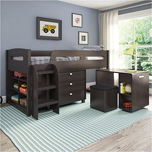 Pemberly Row CorLiving 5-Piece All-in-One Single Twin Loft Bed in Rich Espresso