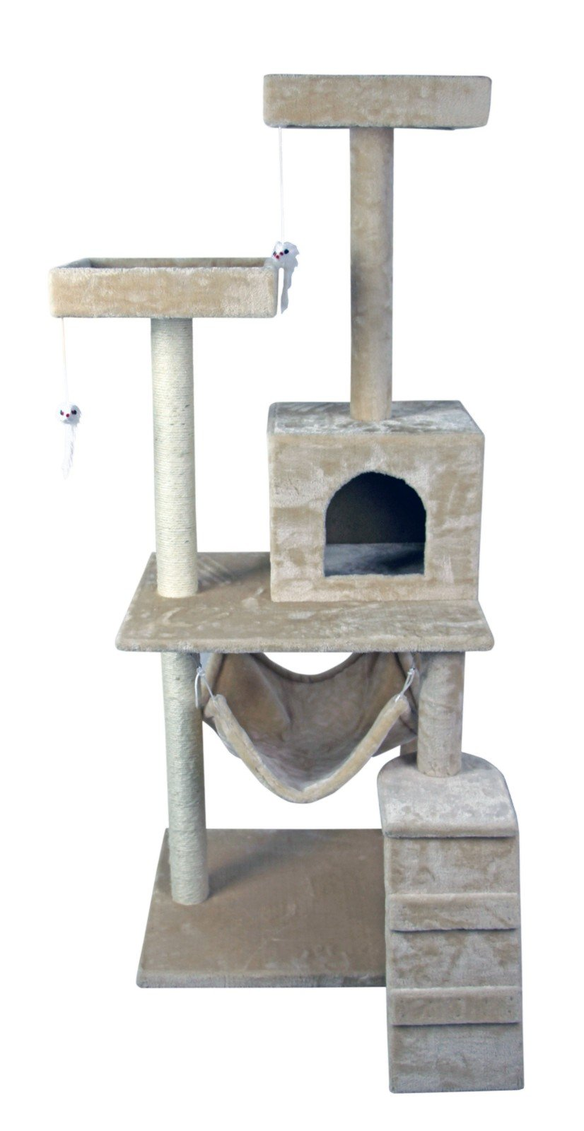 Hiding Nice Cat Tree Tower Condo Furniture Scratch Post Kitty Pet House Play Furniture Sisal Pole Stairs and Hammock, 29.92'' L, Beige by Hiding (Image #8)