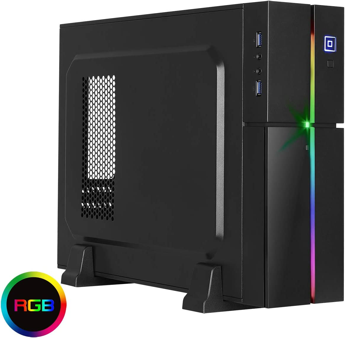 Aerocool Playa Desktop RGB PC Gaming Case,MATX, ITX, 13 Lighting Modes, 1 x 8cm Fan Included, Make Your Own Rules | Black