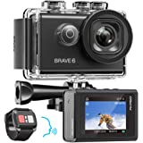 AKASO Brave 6 4K 20MP WiFi Action Camera Voice Control EIS Web Camera 100 feet Underwater Waterproof Camera Remote Control 6X Zoom Underwater Camcorder with 2 Batteries and Helmet Accessories Kit