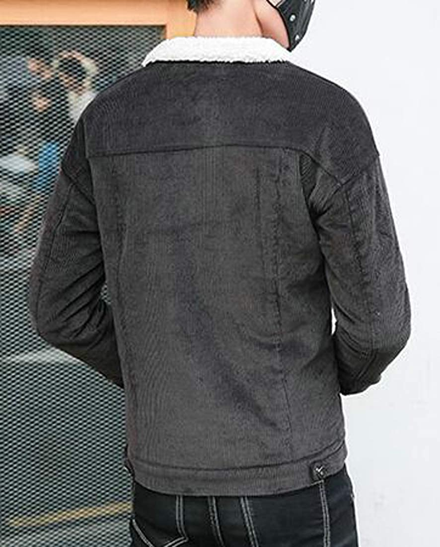 GloryA Men Coat Outwear Fashion Thick Slim Fit Corduroy Parkas Jackets