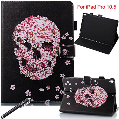 iPad Pro 10.5 Case, Newshine [Multi-Angle Viewing] Stand Cover Auto Sleep/Wake Premium Folio Leather Case with Pencil Holder for Apple iPad Pro 10.5 inch 2017 Release - Petal&Skull