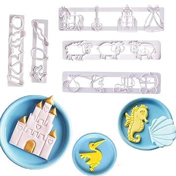 QELEG Juego de cortadores de galletas con diseño de princesa, contorno de concha de mar