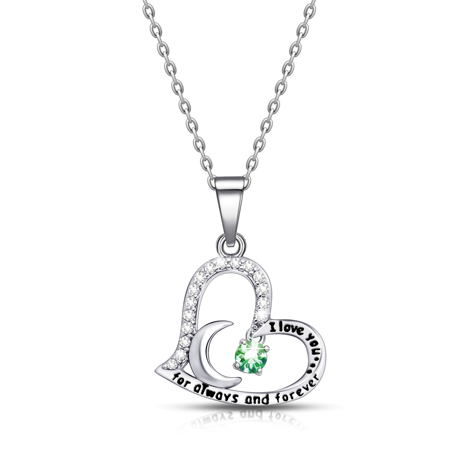 ivyAnan Jewellery Birthday Gift for Women I Love You Dancing Birthstone Peridot Necklace Jewelry Gift for Women Girls Daughter Wife (August)