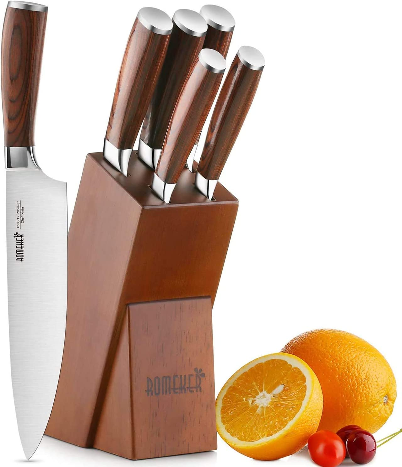 Knife Set,6-Piece Kitchen Knife Set with Wooden Block Germany High Carbon Stainless Steel Knife Block Set,Chef Knife Set Boxed Knife Set by ROMEKER