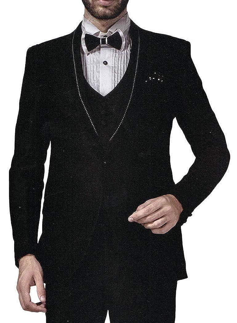 INMONARCH Hombres 6 Pc traje negro esmoquin aspecto único un botón ...