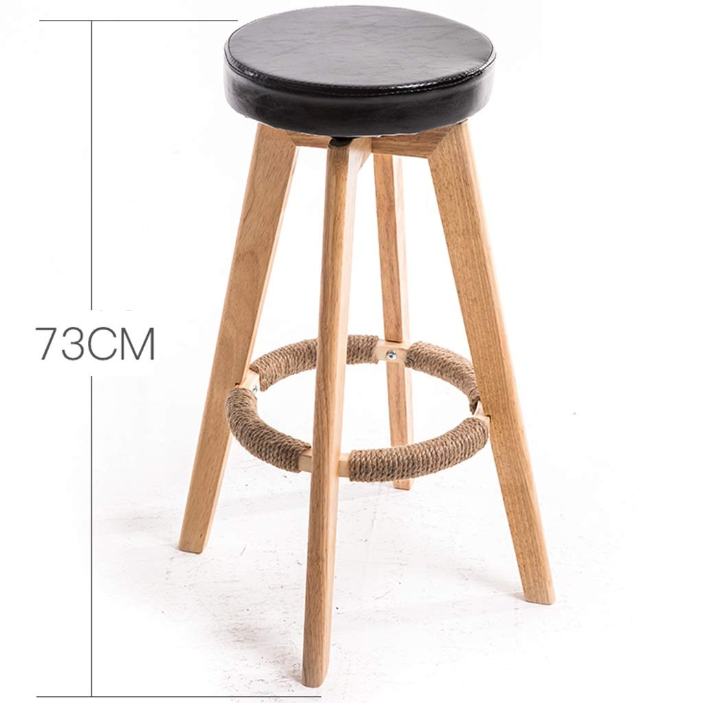 YQCS●LS 朝食の椅子の美のマッサージの椅子のためのバースツールの木の回転台所足台 (Color : Black) B07T4HDYR3 Black