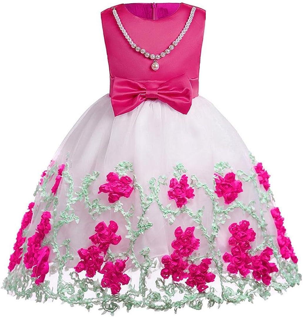 PAOLIAN Monos Ropa para bebé niñas Traje de Vestido Vestidos de Princesa Verano Impresion de Florales Pajarita Irregular Fiesta Boda Conjuntos para niñas de 9 Meses 3 años - 8 años