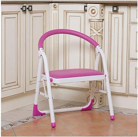 YMXLJF Taburete portatil Escaleras hogareñas de una Sola Planta, sillas de Oficina Plegables, sillas de Escalera de Interior, sillas de reunión y de Ocio. Banco de casa (Color : Pink): Amazon.es: Hogar