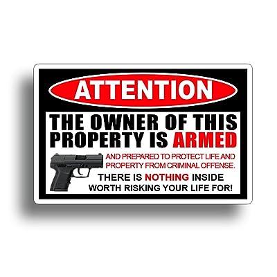 Second 2nd Amendment Handgun Pistol Warning Decal Sticker Gun = By 215 Decals: Everything Else